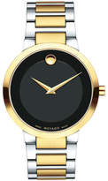 Movado 39.2mm Modern Classic Watch, Silver/Yellow Gold/Black