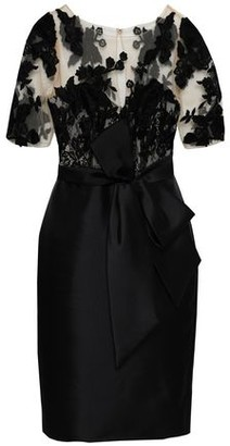 Badgley Mischka Bow-detailed Embroidered Tulle And Satin-twill Dress