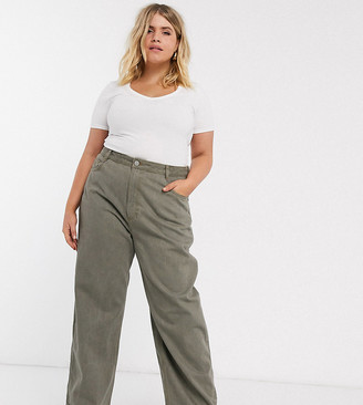 ASOS DESIGN Curve high rise 'relaxed' dad jeans in khaki