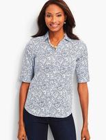 Talbots The Perfect Elbow-Sleeve Shirt-Dotted Scalloped Paisley