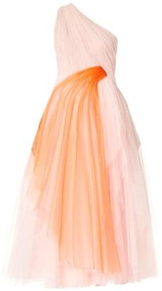 Carolina Herrera Draped Tulle One-Shoulder Gown