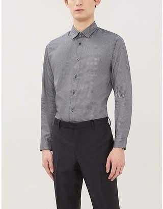 Ted Baker Geometric-print slim-fit cotton shirt
