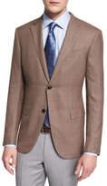 Ermenegildo Zegna Milano Easy Textured High-Performance Wool Blazer, Khaki