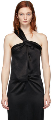 Nanushka Black Satin Single Strap Manon Tank Top