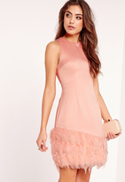 Missguided Feather Trim Bodycon Dress Pink