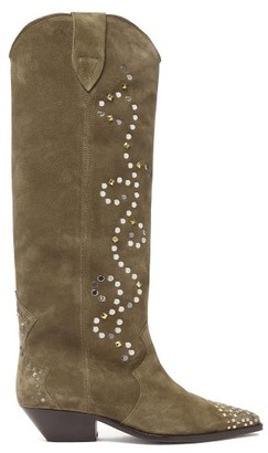 Isabel Marant Denvee Studded Suede Knee-high Boots - Womens - Beige