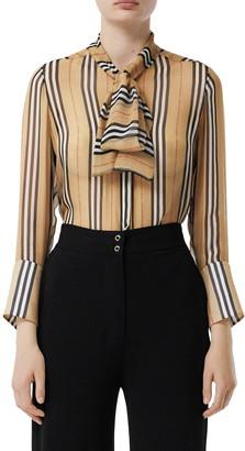 Burberry Amelie Tie Neck Icon Stripe Silk Blouse