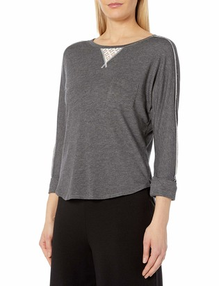 Karen Neuburger Women's Elbow SLV Casual Sweatshirt W Lace Inset