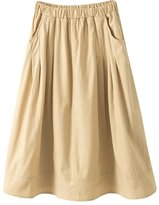 ACHICGIRL Women's Essential Pockets Pleated Midi A-Line Skirt