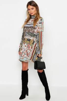 boohoo Ruched Neck & Waist A-Line Dress