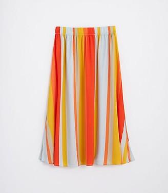 LOFT Petite Striped Pull On Midi Skirt