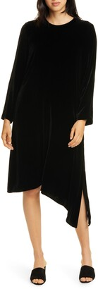 Eileen Fisher Asymmetrical Hem Velvet Long Sleeve T-Shirt Dress
