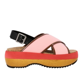 Marni Sandal In Tricolor Leather With Crossed Bands