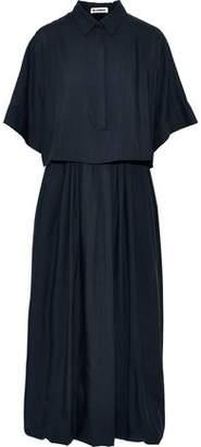 Jil Sander Layered Wool-voile Midi Shirt Dress
