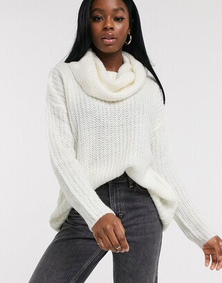 Brave Soul cowl neck fisherman knit jumper in oatmeal