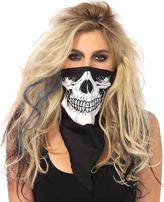 Leg Avenue Black & White Skull Bandanna