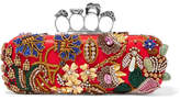 Alexander McQueen Knuckle Embellished Satin Clutch - Red