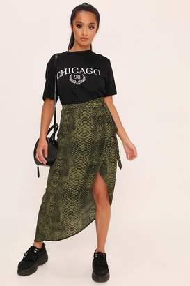 I SAW IT FIRST Green Snake Print Wrap Skirt