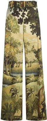 Oscar de la Renta Landscape-Print Wide Trousers