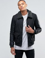 Brave Soul Faux Leather Arm Bomber Jacket