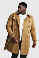 BoohoomanBoohooMAN Mens Brown Big And Tall Double Breasted Trench Coat, Brown