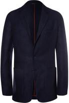 Loro Piana Navy Unstructured Suede-Trimmed Silk and Cashmere-Blend Blazer