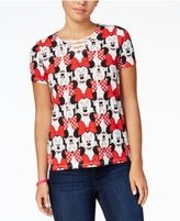 Disney Juniors' Minnie Mouse Lace-Up Printed T-Shirt