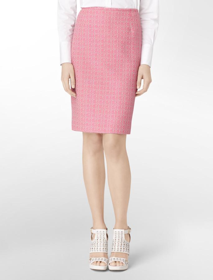 Calvin Klein Contrasting Tweed Pencil Suit Skirt