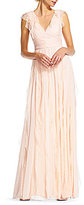 Adrianna Papell Flutter Chiffon/Tulle V-Neck Gown