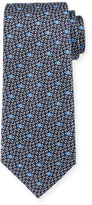 Ermenegildo Zegna Woven Dot & Textured-Ground Silk Tie, Navy