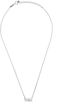 Tasaki 18kt white gold petit Balance Collection Line Akoya pearl and solo diamond pendant necklace
