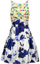 Oscar de la Renta Sequin-Embellished Lace And Printed Silk Dress