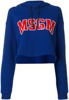 MSGM logo print cropped hoodie