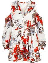 River Island Womens Cream floral print cold shoulder romper