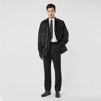 Burberry Classic Fit Velvet Trim Wool Tailored Trousers