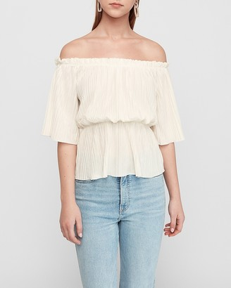 Express Off The Shoulder Pleated Top