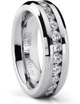 Metal Masters Co.® 6MM Ladies Eternity Titanium Ring Wedding Band with CZ size 7.5