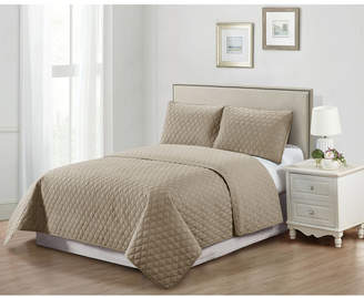 Casual Living Solid Color Tile Stitch 3 Piece Quilt Set, King