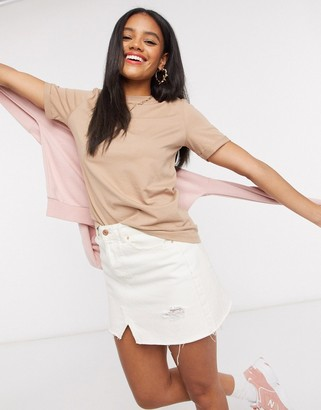 Pieces crew neck t-shirt in camel