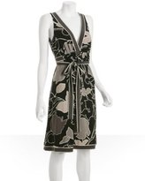 pewter graphic floral jersey belted dress