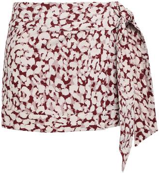 LOVE Stories Lottie Leopard-print Cotton-voile Mini Wrap Skirt