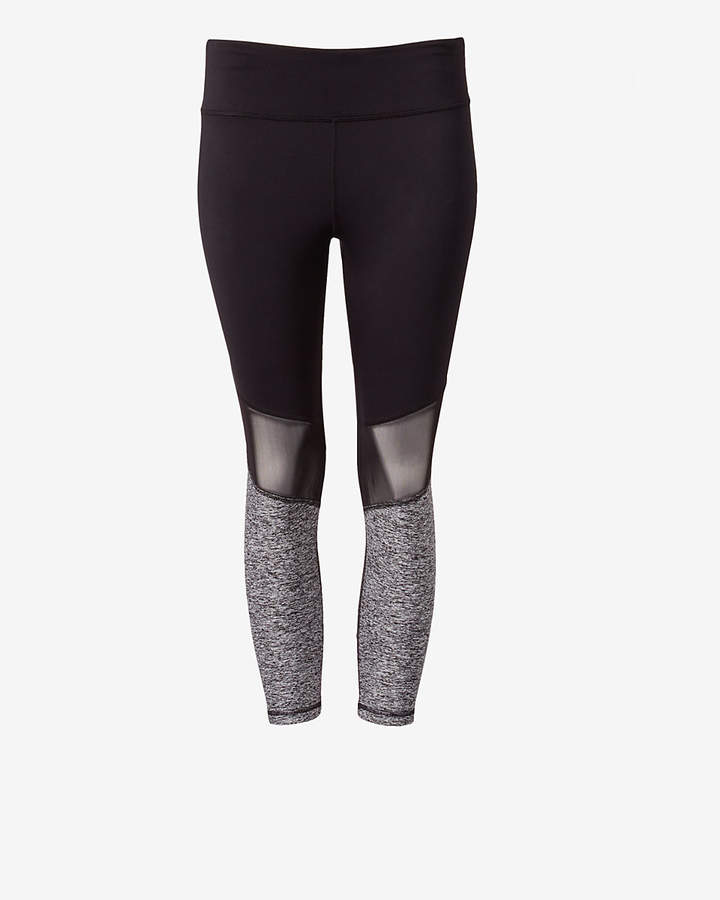 Express Exp Core Purple And Marled Pieced Cropped Leggings