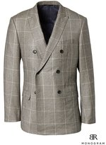 Banana Republic Slim Monogram Brown Plaid Wool Double-Breasted Suit Jacket