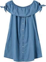 John Lewis Girls' Button Through Denim Dress, Blue
