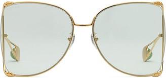 Gucci Oversize Round Metal Sunglasses