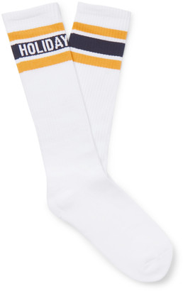 Holiday Boileau Striped Logo-intarsia Cotton-blend Socks - Yellow