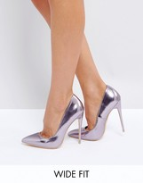 Lost Ink Wide Fit Lilac Metallic Pumps
