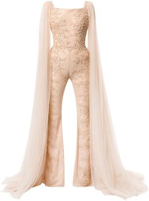 Saiid Kobeisy Embroidered Long-Sleeve Jumpsuit