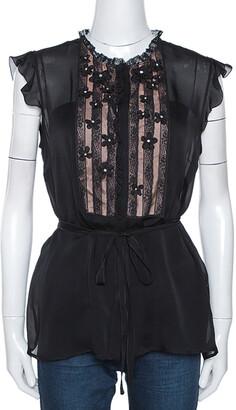 Valentino Black Silk Floral Embellished Lace Trim Blouse L
