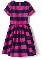 Classic Little Girls Twirl Dress-Rich Red Stripe